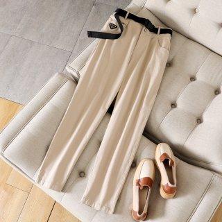 2020春裤子女式女款时尚休闲显瘦腰带装饰休闲裤