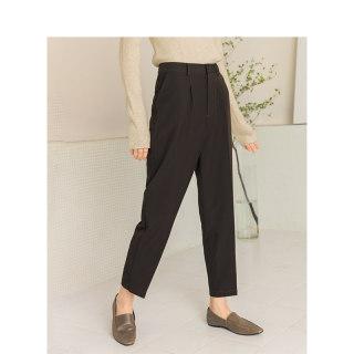 春季文艺时尚高腰烟管裤黑色直筒裤九分显瘦通勤