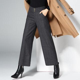 2020春季新款收腰显瘦大码竖条纹长款休闲阔腿裤