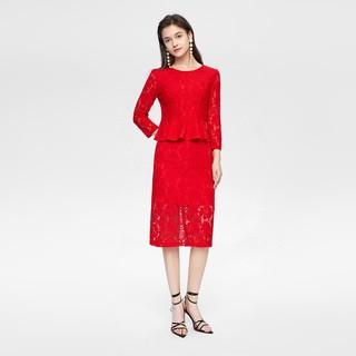 2020春季新品女装淑女风镂空面料剪裁合身版型针织套装