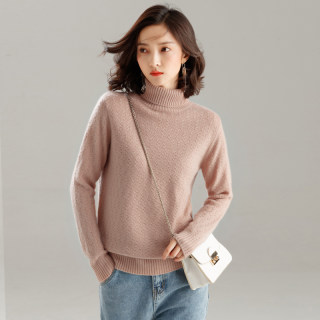 高翻领加厚羊绒衫女毛衣套头修身打底针织衫大码修身宽松显瘦百搭纯色保暖发热