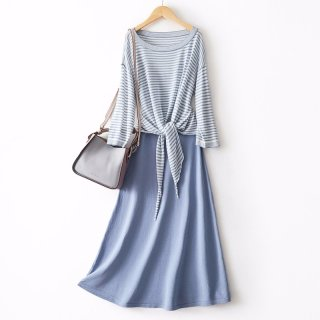 2020春长款女式针织连衣裙套装2020春新品显瘦针织衫吊带中长款裙女