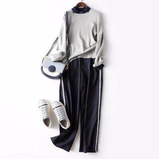 2020春新款女款简约时尚侧边拼织带边针织女式套装
