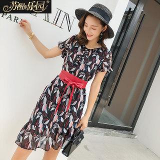 夏季连衣裙女新款韩版修身显瘦气质黑底印花荷叶边收腰A字裙