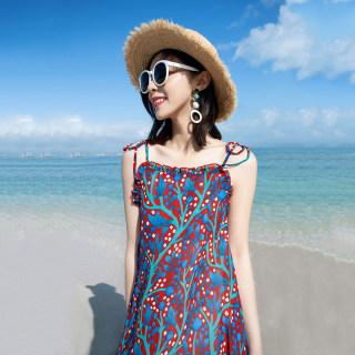 小清新度假风吊带裙女夏外穿中长款荷叶边连衣裙沙滩裙海边度假裙