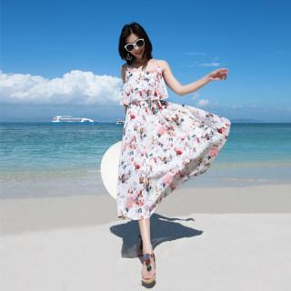 海南三亚沙滩裙海边度假荷叶边连衣裙夏季新款气质吊带裙子长裙仙