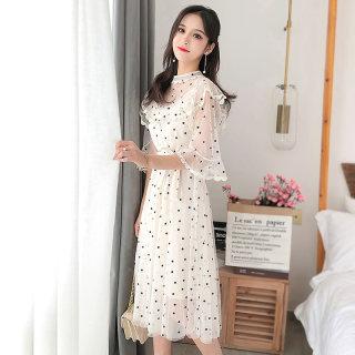 2020夏装新款韩版女装喇叭袖波点裙 中长款荷叶边A字裙雪纺连衣裙