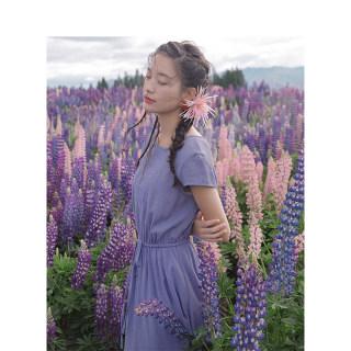荷叶边绣花收腰连衣裙夏气质显瘦短袖中长款