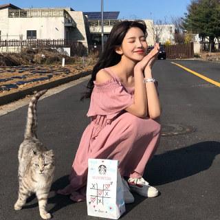 2019夏装新款韩版女装显瘦荷叶边露肩雪纺连衣裙