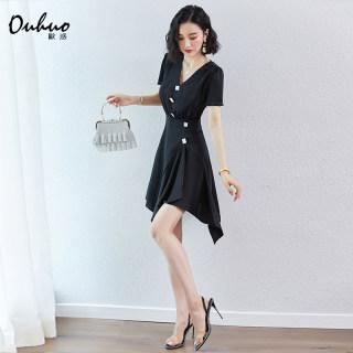 复古裙高腰赫本风气质v领不规则荷叶边心机小黑裙短裙a字连衣裙