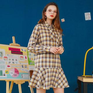 法式高腰a字裙女2020春装新款森系格子衬衫裙荷叶边连衣裙