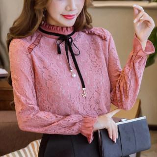 加绒加厚蕾丝打底衫2020韩版女装长袖大码小衫立领上衣