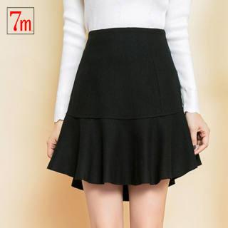 秋季女装新款羊毛呢半身裙荷叶边百褶A字裙短裙