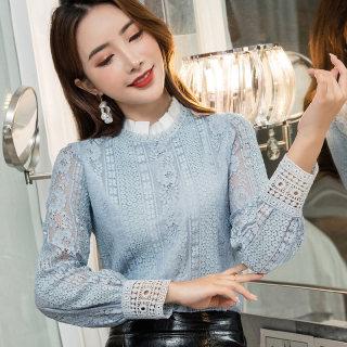 蕾丝衫女2020秋装新款韩版长袖半高领洋气小衫时尚套头百搭打底衫