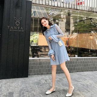 夏装2020款女法国复古山本蕾丝连衣裙女超仙小清新蓝色雪纺百褶裙子