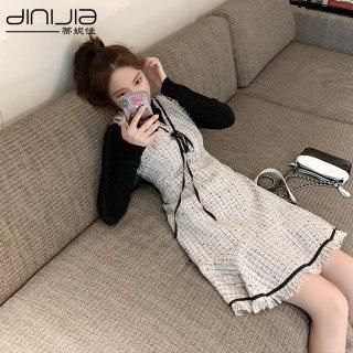佳小香风套装裙两件套秋冬韩版新款裙子女2020气质针织连衣裙冬季