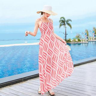2020新款夏露背吊带雪纺连衣裙波西米亚长裙海边度假沙滩裙鱼尾裙
