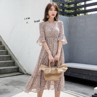 2020夏装新款雪纺连衣裙女装碎花短袖V领雪纺裙子连衣裙