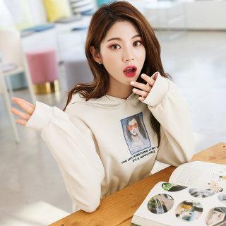 2020春季新款韩版女装宽松连帽印花长袖连衣裙