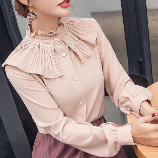 2020秋装新款韩版小衫女装上衣立领长袖女衬衫宽松荷叶边雪纺衬衣