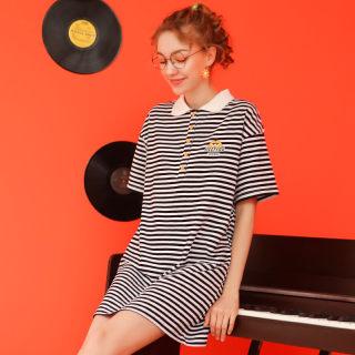 2020夏季新款黑白条纹裙子短袖T恤裙女宽松日系少女POLO领连衣裙