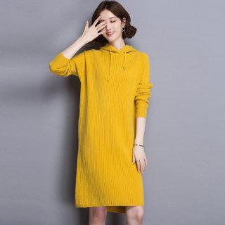 2020春新款潮针织连衣裙带帽针织衫女 套头连帽