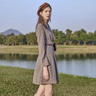 2020春季新款法式初恋修身复古西装裙超仙格子连衣裙女