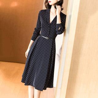 2020秋季新款时尚气质休闲系带收腰显瘦西装V领波点连衣裙