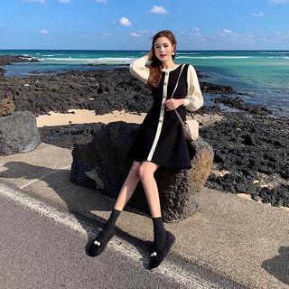 2020新款黑色针织连衣裙女配大春季衣的毛衣打底内搭裙中长款赫本风小黑裙