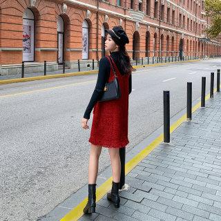女小香风连衣裙洋气红色背带裙女春季新款针织裙子女2020气质裙子女连衣裙