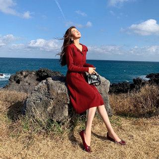 2020新款春季衣服女红色小个子针织连衣裙打底配大衣的内搭裙赫本风小红女