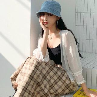2020夏季新款韩版宽松雪纺木耳边系带披肩短外套
