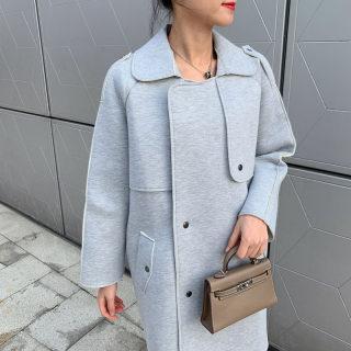 2020春季加棉款显瘦毛呢大衣 赫本风网红同款韩版中长款过膝外套
