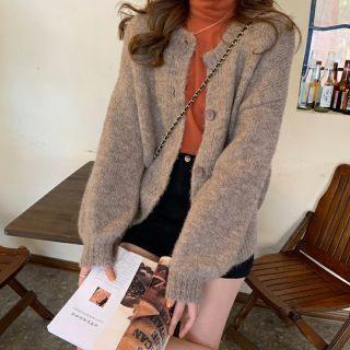 2020春季新款百搭保暖仿牛绒毛呢外套 韩版纯色开衫气质针织外套