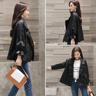 2020年春季新款女休闲宽松设计感皮衣短款外套