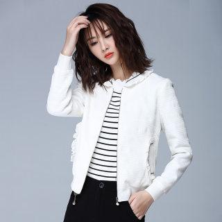 新款白色气质荷叶领休闲刺绣短外套