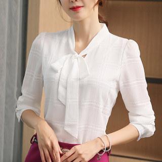 2020春秋装新款衬衣韩版女装打底衫修身显瘦系带上衣纯色长袖女雪纺衬衫
