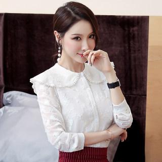 2020秋装新款韩版大码女装纯色雪纺上衣长袖打底衫女宽松显瘦雪纺衬衫