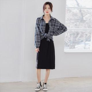2020女夏新款打底衬衫裙两件套仙女雪纺连衣裙