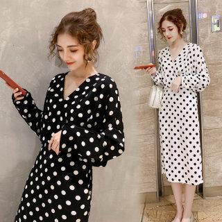 2020秋季新款女装时尚修身中长款波点女士长袖连衣裙