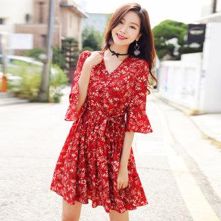 2020夏装新款女装红色雪纺碎花chic小清新连衣裙