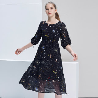 女装2020早春时尚甜美减龄显瘦圆领松紧腰印花雪纺连衣裙女潮