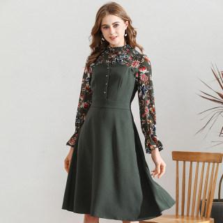 女装2020秋季新款韩版时尚雪纺碎花内搭吊带连衣裙两件套装女