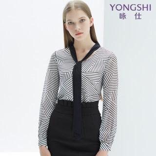 雪纺衫2020早春新款韩版时尚气质V领系带条纹简约休闲衫女潮