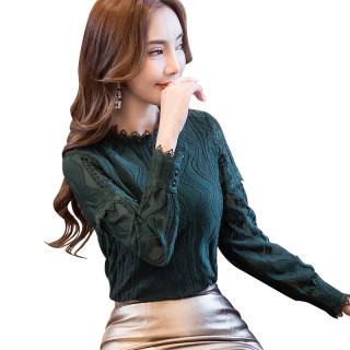 加绒加厚蕾丝衫女2020秋装新款韩版洋气小衫大码半高领长袖网纱上衣