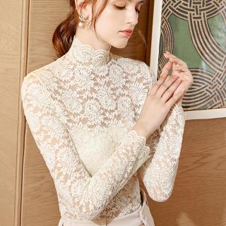 蕾丝打底衫韩版半高领内搭长袖上衣潮