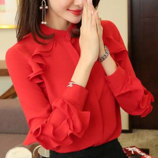 2020春秋装新款韩版女装雪纺衫女上衣立领小衫加绒长袖衬衣显瘦打底衫