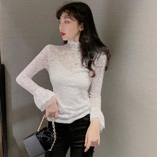 网红蕾丝打底衫女2020春季新款韩版洋气内搭小衫半高领长袖上衣潮