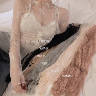 很仙的蕾丝打底衫女冬季2019新款韩版洋气小衫网纱刺绣长袖上衣潮