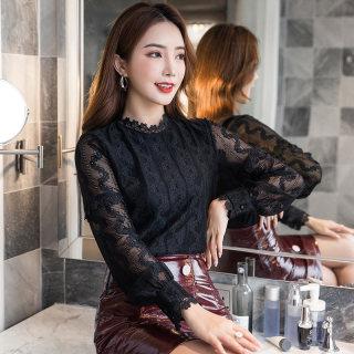 2020秋装新款韩版立领花边套头蕾丝衫女宽松休闲袖打底衫上衣